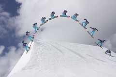 Flaine Snowboard Big Air Contest Sequence (Jack Davies) Tags: canon eos big dangerous jump air flash contest snowboard sequence flaine bigair strobe offcamera 40d