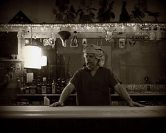 Bartender at the Happy Fish (Studio d'Xavier) Tags: monotone 365 bartender 365days 120365 studiodxavier 3652011 april292011 happyfishbicycleclub