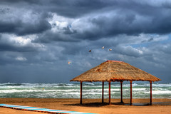 Empty beach (Theophilos) Tags: sea sky beach birds clouds empty greece crete kiosk rethymno