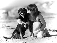 Portrait of the happy couple (gdelargy) Tags: dog beach mono blackwhite mutt labrador shore dexter rottweiller cumbrae canonef70200mmf28lisiiusm karen1985 bonniescot