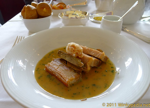 Great Garnett's farm pork belly at Gilbert Scott by Marcus Wareing at St Pancras Hotel