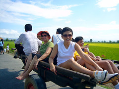 Enjoying a Ride on the Carabao Pulled Cart