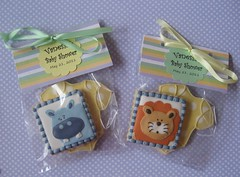Baby Shower Favors (Songbird Sweets) Tags: lion hippo babyshower onesie sugarcookies cookiefavors