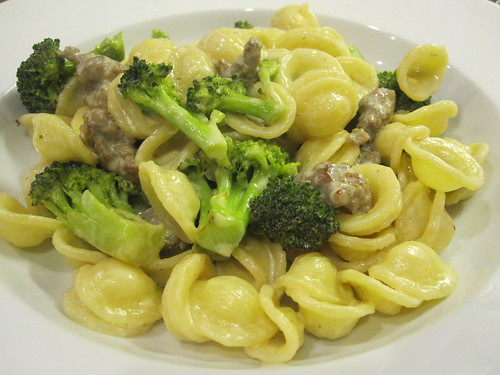 Orecchiette and broccoli with sausage pecorino cream sauce