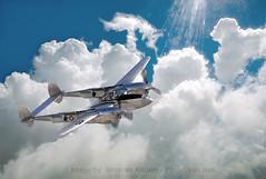 Lockheed P-38 Lightning Flight, WW2 (Wernher Krutein) Tags: plane airplane technology aircraft aviation military flight piston transportation lightning airforce lockheed weaponry propeller prop weapons unitedstatesairforce p38 p38lightning armament lockheedp38lightning twinpropfighteraircraft