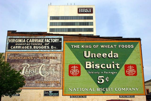 Vintage Wall Ads for Pepsi-Cola and Uneeda Biscuit - Roanoke, VA