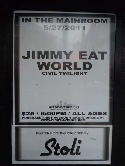 05-27-11 Jimmy Eat World @ First Avenue, Minneapolis, MN (Outside Venue Poster)