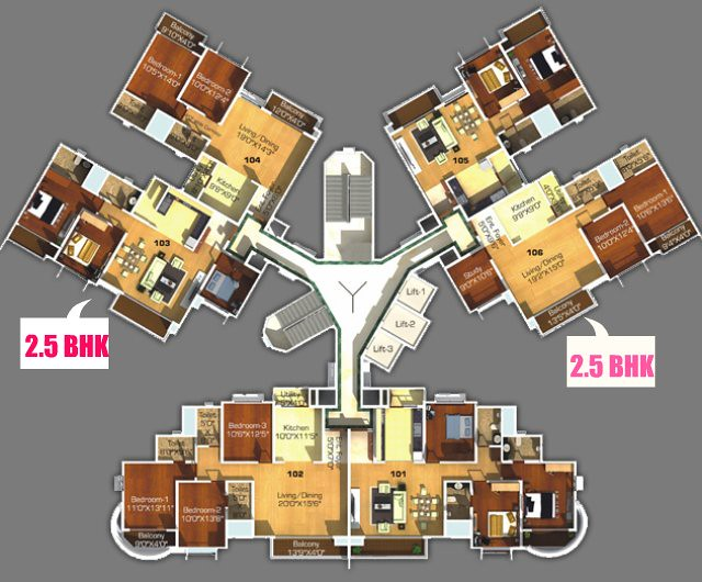 Type 1 - 2.5 BHK Flats in A, B & H, I Sangria Towers, Megapolis, Hinjewadi Phase 3