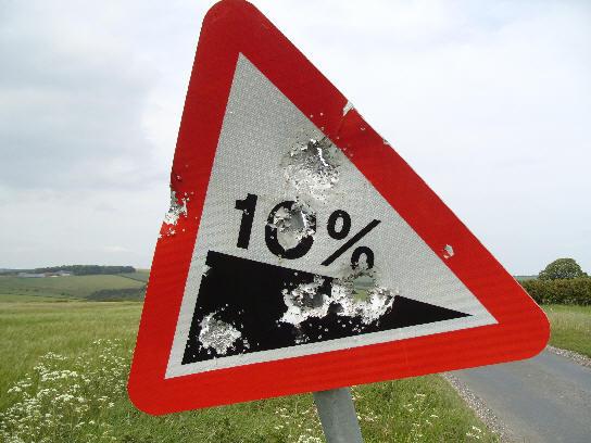 10 per cent gradient sign