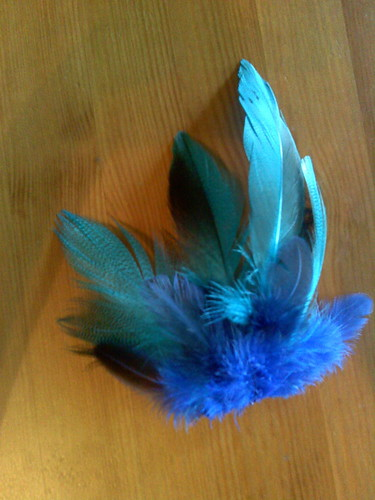 Turquoise feather fascinator