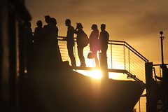 Silhouttes at the Lightship Frying Pan - NYC (ChrisGoldNY) Tags: nyc newyorkcity usa newyork men yellow america poster boats chelsea forsale silhouettes sunsets maritime posters albumcover gothamist nightlife bookcover bookcovers fryingpan albumcovers eater challengewinners thechallengefactory chrisgoldny chrisgoldberg thelightshipfryingpan chrisgold chrisgoldphoto chrisgoldphotos