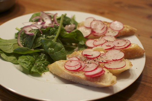 Radish Sandwiches and Spinach Salad