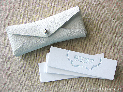 duet letterpress business card + case