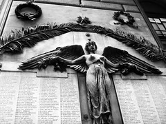Winged Lady (AJParker87) Tags: street bw italy white black roma monument lady donna words wings strada italia breast monumento ali angels angelo winged bianco nero parole alato seno signora