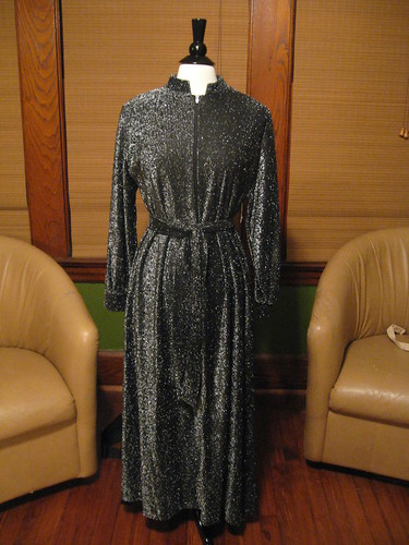 Vintage 1960's Black and Silver Metallic Hostess Dress by vintage 201