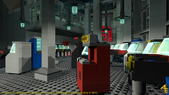 Flynns_Arcade_Interior_at_Entrance (tronlegocy) Tags: digital movie design 1982 kevin lego designer bricks arcade tron legacy rendering flynn povray