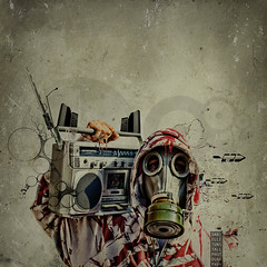 When the shit goes down you better be ready. (Danielle_T) Tags: portrait music man colour art strange digital photoshop weird insane intense emotion digitalart dream surreal retro psycho gasmask nightmare unusual mad lucid ghettoblaster horrorphotography danielletunstall