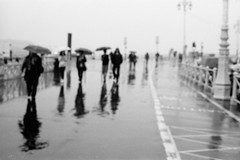 Sunny Brighton (AndyWilson) Tags: summer film wet rain june 35mm brighton olympus om10 outoffocus prom umbrellas damp plusx px125 125asa autaut ofcourseitwasdeliberate