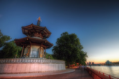Peace Pagoda (TheFella) Tags: uk longexposure greatbritain trees sunset england people slr london water thames digital photoshop canon river eos pagoda photo high europe chelsea peace dynamic unitedkingdom dusk buddhist capital buddhism photograph processing slowshutter gb bluehour dslr battersea range riverthames hdr highdynamicrange wandsworth peacepagoda batterseapark postprocessing 500d photomatix buddhiststupa batterseapeacepagoda