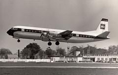 BEA Vanguard G-APEA, probably at Heathrow, 1960's (Proplinerman) Tags: bea heathrow aircraft airliner turboprop 1964 vanguard vickers propliner britisheuropeanairways gapea