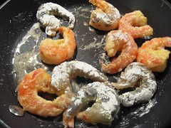 Pan frying shrimps
