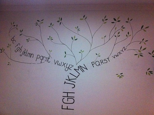 The mural so far - alphabet tree