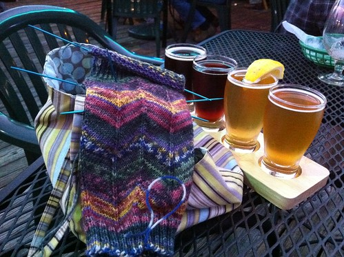 Sock with beer flight at Opal Divine's