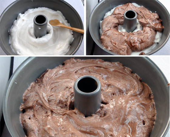 Chocolate and Vanilla Angel Food Cake with Dipped-Cone Icing-how to layer