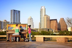 Small Audience at Sunset (Amanda SG) Tags: park street music art public girl skyline austin project kid friend downtown texas skyscrapers tx hill piano stranger tessa pianos hilltop highrises butlerpark buildinging townlakepark streetpianos dougsahmhill playmeimyours austinmusicmap