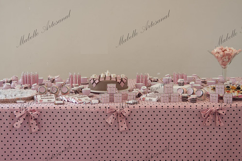 Mesa Completa Marrom Com Rosa by Mabelle Artesanal