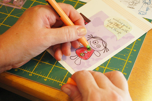 Postcard making: colouring