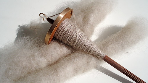 handcarded wensleydale x gotland mixed with oatmeal BFL