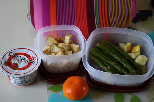 chobani strawberry, tofu, asparagus, clementine