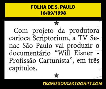 """""""Com projeto da produtora carioca Scriptorium"""" - Folha de São Paulo - 18/09/1998"""