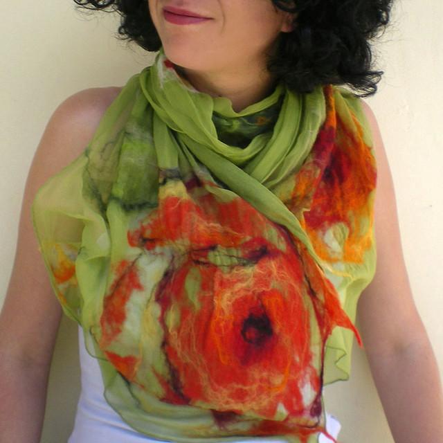 nuno felted scarf -wondrous place- 2 by QaraQul