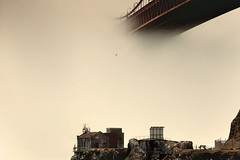 Perseverance.. (Andrew Louie Photography) Tags: sf california ca bridge fog golden spring gate san francisco moody afternoon baker fort bayarea april drama perseverance southtower northtower landscrape flickrdiamond