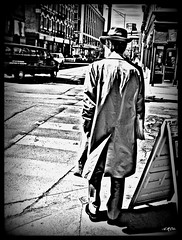 The Original Detective (Explored) (Red9898 - Ann Marie Oates-school & work) Tags: city blackandwhite bw vintage tv 1950s 1960s coats detective the60s hss fadora trnch detectiveshows sundaysliders