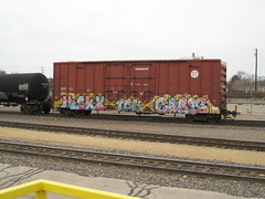end of train (feck_aRt_post) Tags: train graffiti cares post now freight endoftrain eot hicky tkc benching rollby