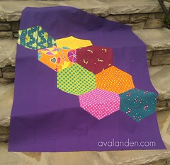 QIP: The Hexigon Circus (KMQuilts) Tags: pink orange green purple quilt linen lime cerise michaelmiller kokka echino hexigons modernbabyquilt hexies