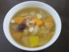 Nourishing Snow Fungus Papaya Pear and Sweet Potato Soup