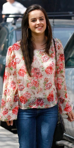 Georgia May Foote in Own The Runways floral print chiffon blouse 20.04.11