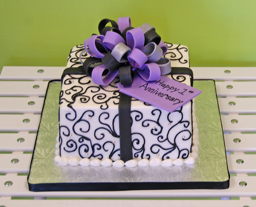 First Anniversary Cake scroll design black, purple and silver package cake