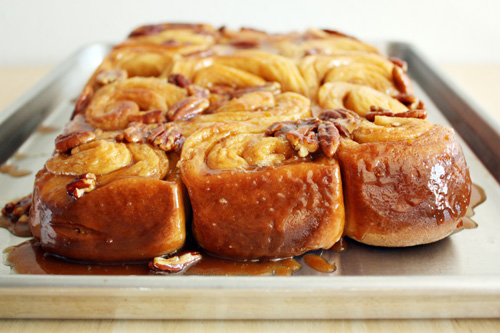 cinnamon sticky buns with orange-pecan glaze.