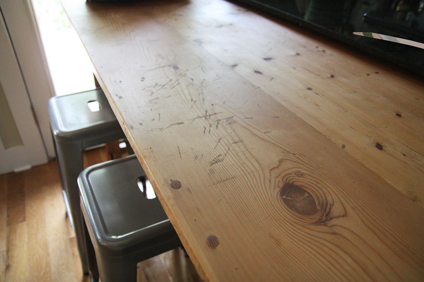 all beat up antique pine table