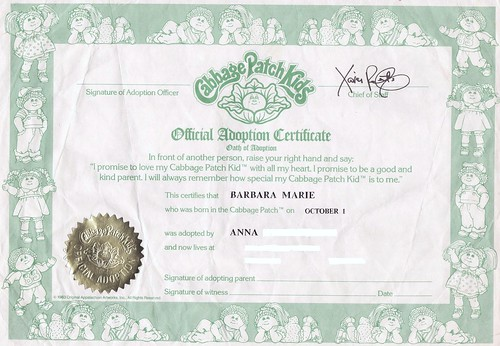 cabbage patch kids official adoption certificate 1985