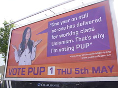 PUP billboard Newtownards Road, East Belfast