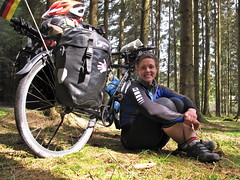 In the German forests (Sarah Outen) Tags: germany cycling sponsors forests sarahouten