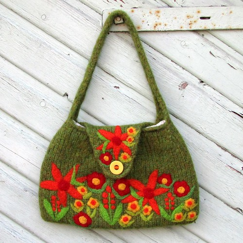 Felted mossy green bag with needle felted flowers