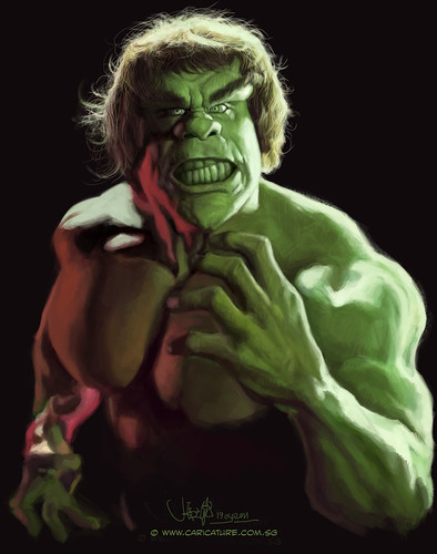 digital caricature of Lou Ferrigno