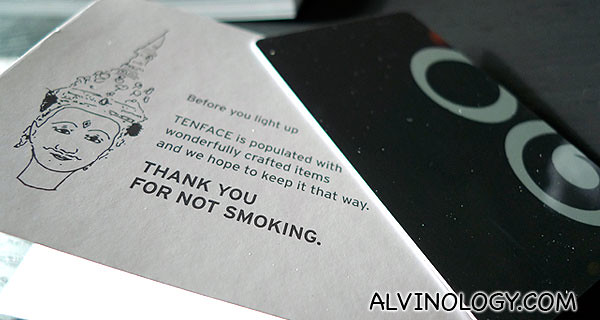 """The key card comes in a thoughtful holder that reads """"Thank you for not smoking"""""""